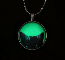 Punk Style Black cat peeping Glow in the Dark Stainless Steel Necklace Pendant