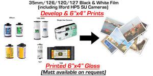 BLACK & WHITE FILM DEVELOP and 6x4 Prints - 35mm / 120/ 126 / 127