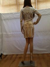 White and Gold Body Con Embellished Dress