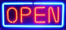 BIG HORIZONTAL NEON OPEN SIGN LIGHT OPENSIGN RESTAURANT BUSINESS BAR BRIGHT