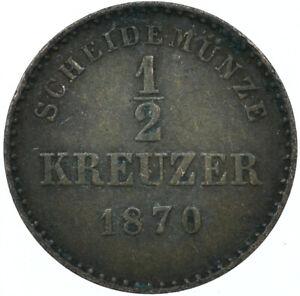 1870 / 1/2 KREUZER / SCHEIDEMUNZE / STATE OF WURTTEMBERG GERMANY     #WT7742
