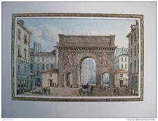 reproduction gravure vue de l arc de Triomphe élevé pour louis XIV 1754 - 1826