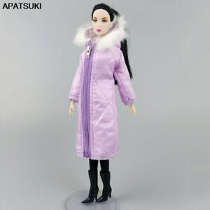 Purple Winter Long Coat Hoodie for Barbie Doll Outfits Clothes Parka Jacket 1/6