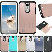 Hybrid Armor Case Shockproof Hard Rubber Cover For LG Aristo/LV3 MS210/Fortune