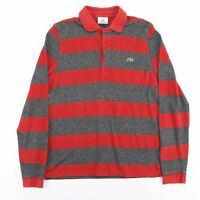 Vintage LACOSTE Red Grey Striped Long Sleeve Polo Shirt Men's Size Medium (5)