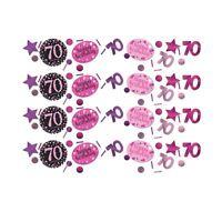 Pink Sparkling Celebration 70th Confetti Birthday Party Table Sprinkles 34g