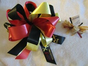 """RED, YELLOW & BLACK BOW - 8 1/2"""" - RX, DR FEELGOOD TAG - (GET WELL)"""