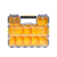 Small Parts Organizer 10-Compartment Case Customizable Clear Lid Handle Tool Box
