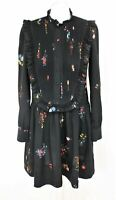 ERDEM x H&M Ladies Black Floral Print Long Sleeve Knee Length Bib Dress Size S