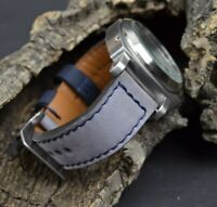 MA WATCH STRAP 26 24 22 NUBUCK LEATHER FOREST GREY BLUE HANDMADE FOR PANERAI ETC