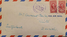 L) 1949 COSTA RICA, MANUEL AGUILAR, RED, 40 CENTS, AIRMAIL, CIRCULATED COVER FRO