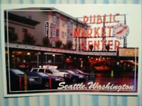 AERIAL VIEW PHOTO POST CARD PUBLIC MARKET CENTER SEATTLE WASHINGTON