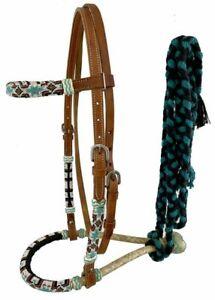 Showman Leather Bosal Headstall w/ Southwest Beaded Design & Mecate Reins