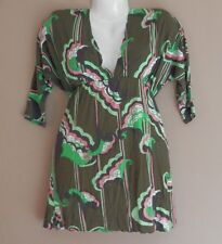 Womens T BAGS Los Angeles Tunic Top Shirt Size S 3/4 Sleeve Empire Waist V Neck