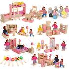 Birthday Gift Wooden Doll House Miniature Family Children Furniture Set Kit Toys