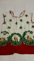 1960s Full Apron Handmade Christmas Red Yellow Green Kitchen Linens Vintage
