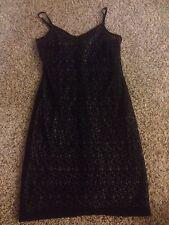 EUC Zara Slip Dress Womens Size 6 Black Lace Beige Lining Sexy Club Wear Nice