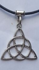 CELTIC TRIQUETA  CHARM ON 2MM  BLACK LEATHER CHOKER  CHARM NECKLACE. 14 INCHES