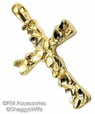 Nugget Cross Charm / Pendant EP Gold Plated Jewelry with a Lifetime Guarantee