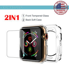 For Apple Watch Series 4 40/44mm Clear Soft Case Tempered Glass Screen Protector