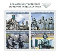 Niger Medical Stamps 2020 MNH Corona Famous Monuments Beethoven 4v M/S