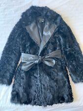Women's Genuine Real Lamb Fur Shearling Black Coat Jacket MANGO, Size Small