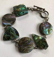 Vintage Silver Abalone And Green  Enamel Bracelet Worn 2 Ways