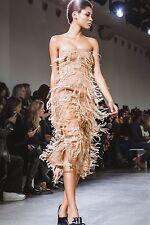 NWT JASON WU Dress Strapless Runway Ostrich Feather Nude Blush Wedding $2,795