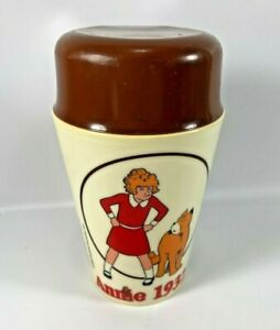 Vintage 1982 Little Orphan ANNIE Ovaltine Small Plastic Cup Brown Shake Up Mix