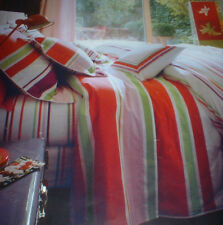 YVES DELORME POP MULTI STRIPED KING DUVET COVER & 1 BOUDOIR PILLOWCASE NEW IN P