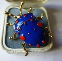 VINTAGE STYLE BLUE RED ENAMEL INSECT BROOCH GOLD PLATED ENAMEL BEETLE PIN