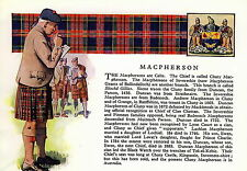 Print SCOTTISH Clan McPHERSON  History Genealogy Coat of Arms Tartan Gift Matted