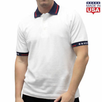 TheFlagShirt Men's Patriotic USA Polo Shirt With American Flag Accents in S-4X