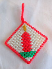 "Red Candle Christmas Ornament 3"" Handmade Plastic Canvas"