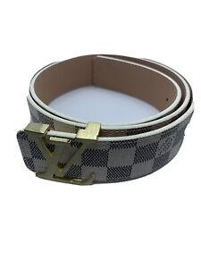 LV Belt for Men, White size 32-36