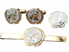 United Nations Gift Set Cufflinks, Lapel Badge Tie Clip white