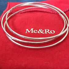 Me & Ro Set of 3 Sterling Silver Hammered Bangle Bracelets with Pouch & Box NWOT