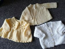 Baby Girls 3 Hand Knitted Beautiful Cardigans 3-6 Months Excellent Condition