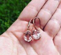 2Ct Oval Cut Peach Morganite Dangle Hook Earrings Solid 14K Rose Gold Over