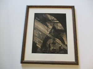 ANTIQUE AMERICAN PAINTING DRAWING ART DECO REGIONALISM FACTORY WORKER INDUSTRIAL
