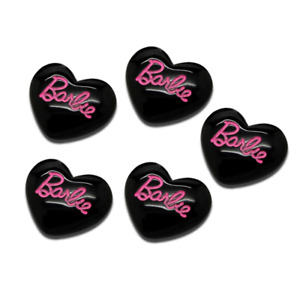 9pcs Barbie Girl Ponytail Heart Cabochon Flatback Black&Hot Pink Doll Dolls F752