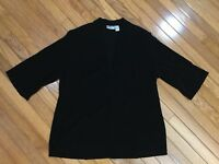 CHICOS TRAVELERS Women's Black Slinky 3/4 Sleeves open front Blouse Top Size 3