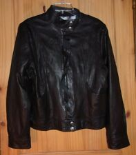 Guess Jeans Black Ruffled Leather Jacket, Women's L