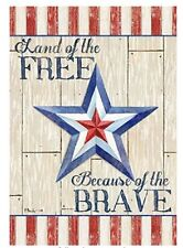 Land of the Brave Because of the Free Patriotic Military Garden Flag 4th of July