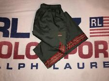"""90s Adidas """"3 Stripes� Olive Green/ Red Reflective Stripe Track Pants — Sz Large"""