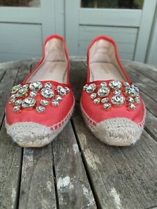Russell Bromley Red / Coral Embellished Espadrille Sandals Size 40