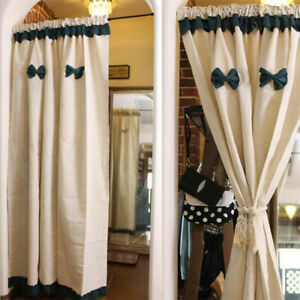 Cotton Linen Short Half Curtain Window Drapes Kitchen Door Treatment Rod Pocket
