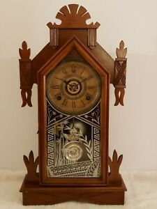 "Antique Working 1883 ANSONIA ""America"" Victorian Walnut Parlor Mantel Clock"