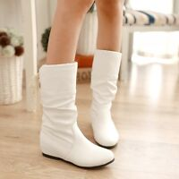 New Women's PU Leather Hidden Wedge Heel Slouch Knee High Boots Shoes Plus Size