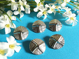 """970B/Chequerboard Buttons """" Star """" Metal Silver Set Of 5 Buttons Ép. 1970"""